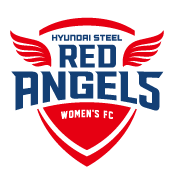 흰색 배경에 있는 HYUNDAI STEEL RED ANGELS WOMEN'S FC 로고